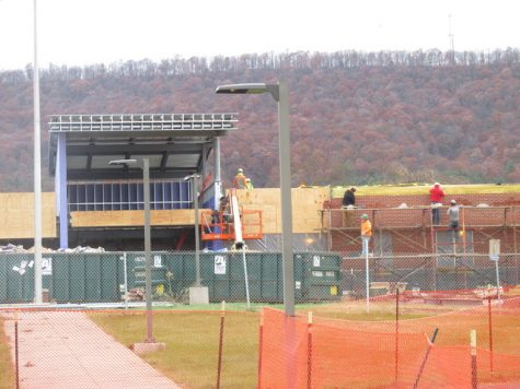 A picture of the High School being renovated as they put the new AC system into the school.