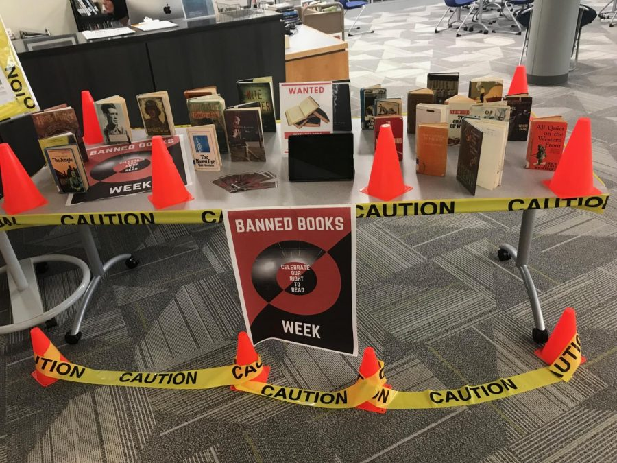 Mrs. Smith's Banned Books Week tribute in the IMC