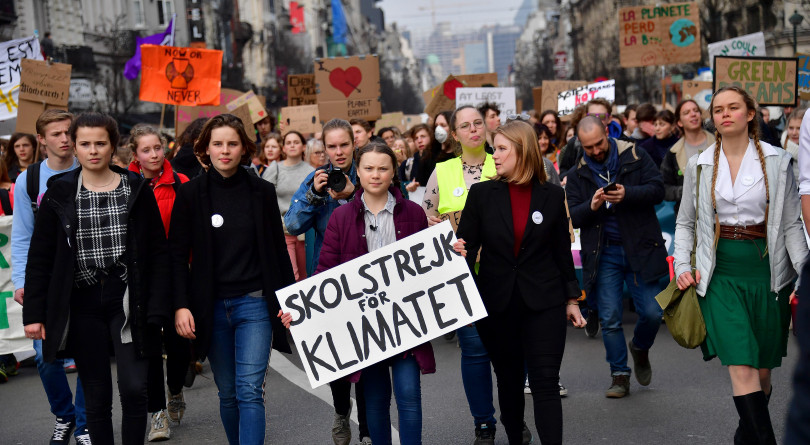 Swedish 16-year-old climate activist, Greta Thunberg, at a march for the environment and the climate organized by students, in Brussels, on Feb. 21, 2019.
