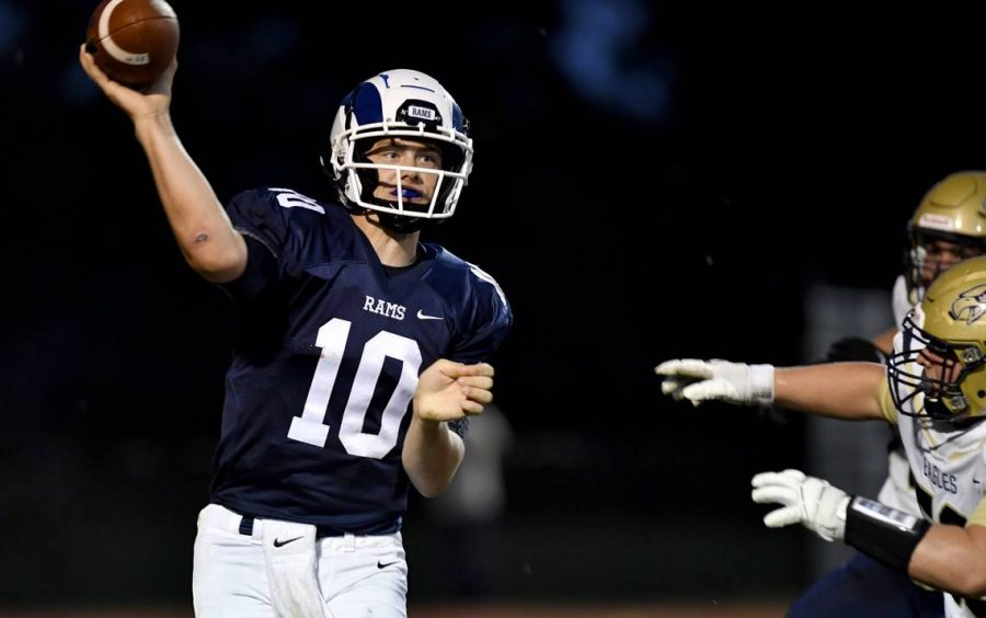 Penns Valley's senior quarterback, Aaron Tobias passing in previous game against Bald Eagle Area High School. (Photo courtesy of the Centre Daily Times)