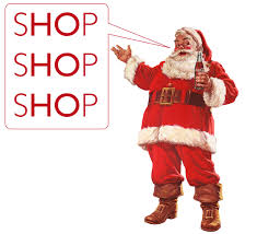 A picture of Santa is shown encouraging customers to shop during the holidays.