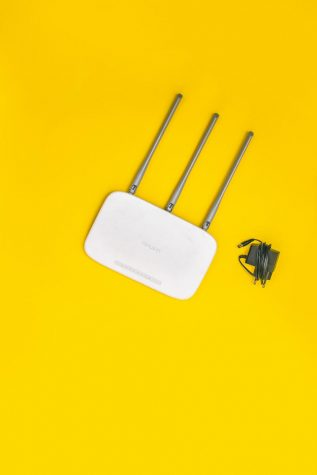 Internet router with power cord